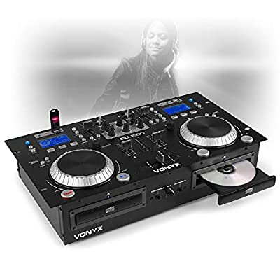 VONYX CDJ-500 Dual Twin CD USB Player 2-CH DJ Amplified Mixer Bluetooth Jog Wheels CUE