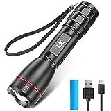 LE Extrem Hell LED Taschenlampe Aufladbar USB, 15000 Lux OSRAM P9 Taschenlampen, IPX7 Wasserdicht Zoombare Handlampe mit 5 Modi, Wiederaufladbare Taktische Taschenlampe für Camping, Outdoor, Wandern