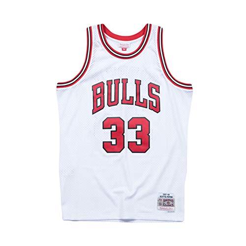 AKLP Pippen Retro Jersey para Hombres, Bulls 1997-1998 Temporada Player Edition Basketball Jersey White-XL