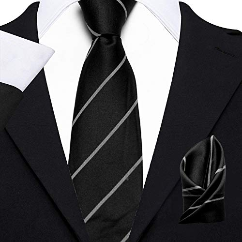 Axlon Men's Micro Polyester Striped Necktie Set with Pocket Square and Brooch Pin (Black , Free Size)