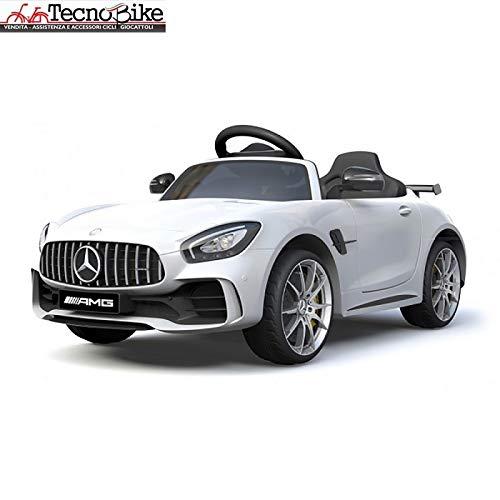 Auto Macchina Elettrica Per Bambini Mercedes Benz AMG GTR 12V 2 Motori SoftStart GT-R AMG Con Telecomando Parental Control Luci e suoni Mp3 (Bianco)