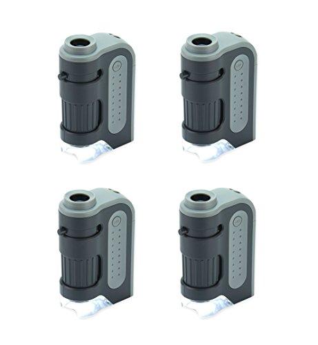 Extrem leistungsstarkes Taschenmikroskop Carson 60-120x MicroBrite Plus mit LED-Beleuchtung im Viererpack