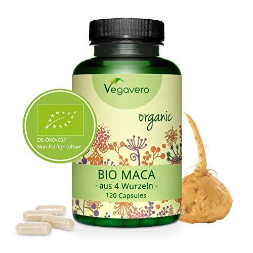 BIO Maca Andina Vegavero® | 3000 mg | Cosechada en Perú | Combina Maca Negra + Roja + Amarilla + Púrpura | 120 Cápsulas | Testada en Laboratorio | Estimulante + Energía + Libido + Cansancio