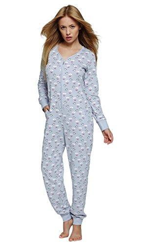 S& SENSIS Angesagter Schlafanzug-Overall/Jumpsuit (Made in EU) Onsie mit niedlichem Printmuster aus Baumwolle, Gr. 36-38, Hellgrau mit Eulen