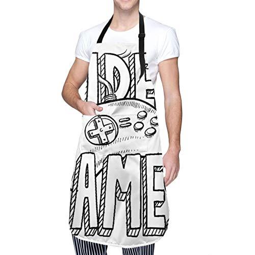 Ajustable Colgante de Cuello Personalizado Delantal Impermeable,Diseño de tipografía de videojuegos estilo Doodle con ilustraciones de bocetos de controlador,Babero de Cocina Vestido con 2 Bolsillos