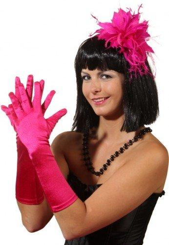 Fasching Satin-Handschuhe 40 cm lang (pink)