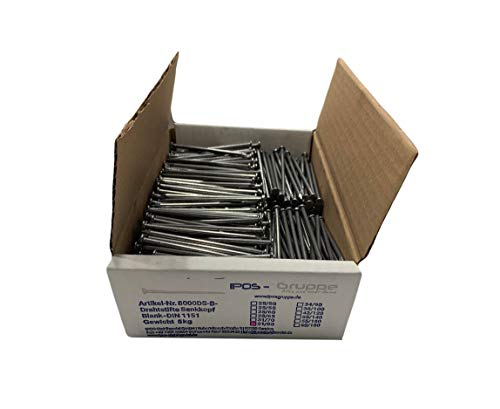 IPOS Drahtstifte Alle Längen Nägel Senkkopf Senkkopfnägel Baunägel blank 5 kg (3,1 x 80 mm)