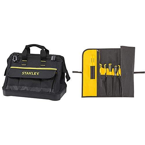 STANLEY 1-96-183 - Bolsa para herramientas de gran abertura con cremallera, 45 x 27.5 x 23.5 cm, base reforzada + 1-93-601 - Estuche para herramientas enrollable
