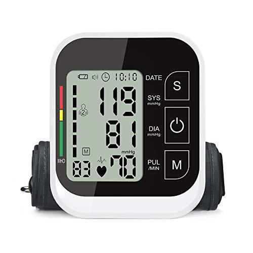 WAN Oberarm-Blutdruckmessgerät, USB aufladbare präzise Maschine Home Use Digital-Blutdruck und Herzfrequenz-Backlit LCD-Display Pulse