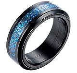 PAURO Hombre Acero Inoxidable Negro Celtic Dragon Azul Fibra De Carbono Inlay Giratorio Anillo 8mm Band Tamaño 22