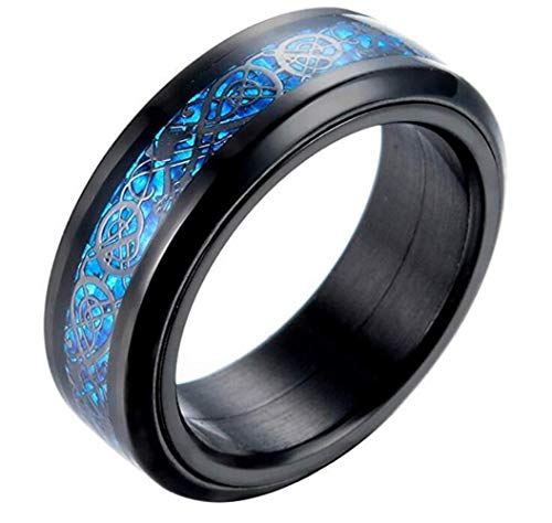 PAURO Hombre Acero Inoxidable Negro Celtic Dragon Azul Fibra De Carbono Inlay Giratorio Anillo 8mm Band Tamaño 32