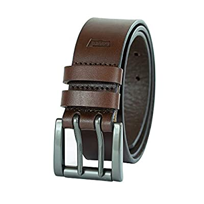 Levi's Men's Work Belt - Heavy Duty Thick Wide Soft Leather Strap with Silver Double Prong Buckle, Brown, 42
