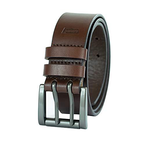 Levi's - Cinturón de trabajo para hombre, resistente y grueso, correa de cuero suave con hebilla de doble punta plateada, color marrón, 44