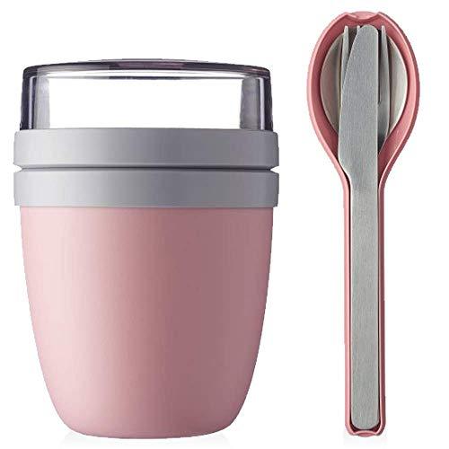 Mepal Lunchpot Plus Besteckset Frühstücksset to Go Becher (Nordic pink)