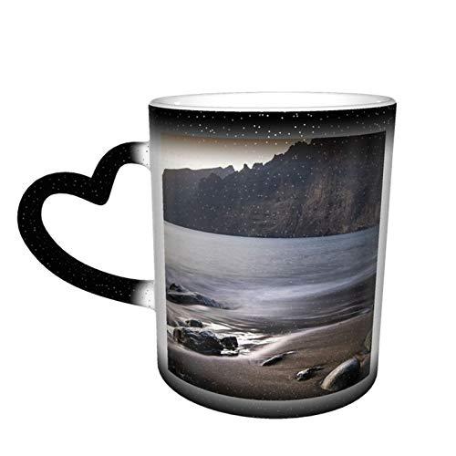 Taza de café cambiante mágica, Sea Tenerife agua, naturaleza, vacaciones, personalizada, impresión de cerámica, sensible al calor, para familiares y amigos, regalo
