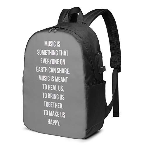 Aria-Na Gra-Nde Slogan - Mochila para portátil de 17 pulgadas para hombres y mujeres, mochila escolar con puerto de carga USB e interfaz de auriculares