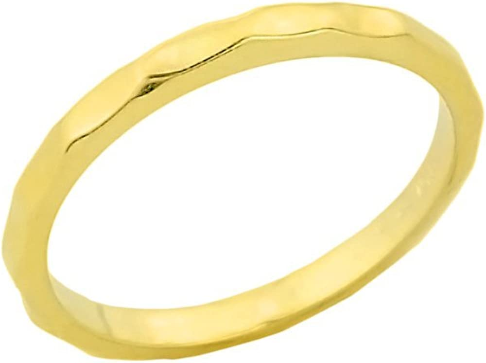 Stacking 14k Yellow Gold Sizable Hammered Toe Ring