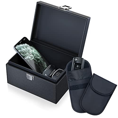 Grande Caja Faraday con Bolsas Faraday Llave Coche, Proteccion Antirrobo Jaula Faraday Movil Bloqueo de Senal - Cuero Negro Clasico