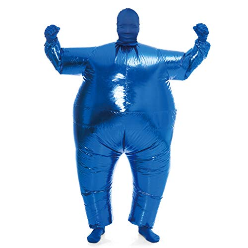 Spooktacular Creations Inflatable Costume Full Body Suit Halloween Costume Adult Size - Metallic Shiny Blue
