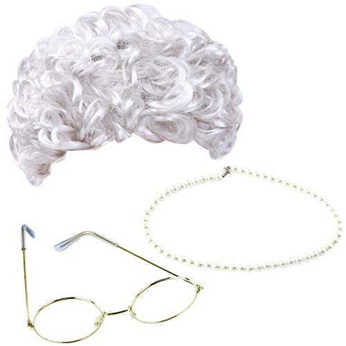 Cooraby 3 Pieces Grey Wig Grandma Wig Granny Glasses Artificial Pearl Necklace Fancy Dress Accessories for Children (Style C)