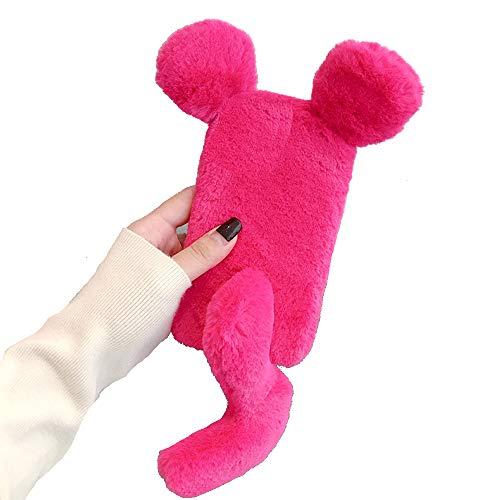 Miagon Maus Schwanz Handyhülle für Huawei P30 Lite,Super Weich Winter Warm Lustig Kunstpelz Plüsch Fluffy Flexibel Handytasche Schale Case,Rose Rot