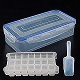 Cxssxling - Cubitera con forma de cubo de hielo, 2 unidades, con tapa/caja/pala, recipiente para cubitos de hielo para fiestas familiares, 42 compartimentos