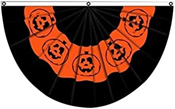 m·kvfa Happy Halloween Pumpkin Lantern Bunting Fan Semicircular Flag Party Decor for Yard Garden Yard Porch Bar Party 45X90CM
