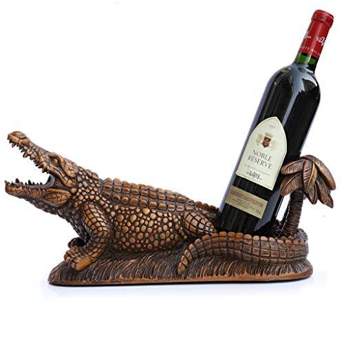 ZH-0 Dessus de la table Porte-bouteille de vin Debout libre Casiers à vin simple bouteille Artisanat de décoration, Résine Premium, Crocodile, 43,5×15×19 cm