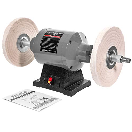 XtremepowerUS 10' Electric Benchtop Polisher Buffer Grinder Powerful 1HP Motor Polishing Grinder Machine 3450 RPM