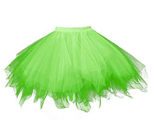 Smile Fish Damen 50er Vintage Kurz T¨¹llrock Tutu Unterrock Rockabilly Petticoat f¨¹r Karneval Partykleid 80er Kurz Ballkleid Abendkleid(Neon Green-XL)