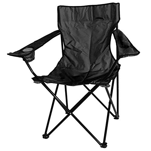 ASAB Folding Camping Chair Fishing Seat With Armrest And Cup Holder Portable Outdoor Beach Garden Furniture - Black