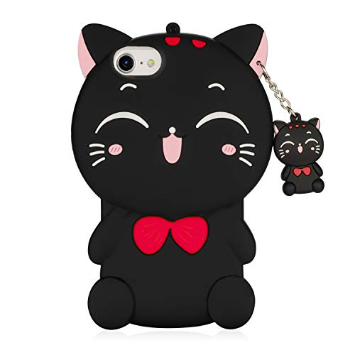 3D Black Cat Case for iPhone SE 2020/iPhone 8/iPhone 7/iPhone 6, Kawaii Cute Cartoon Animals Soft Silicone Shockproof Drop Protection Durable Phone Case for Girls Kids Women