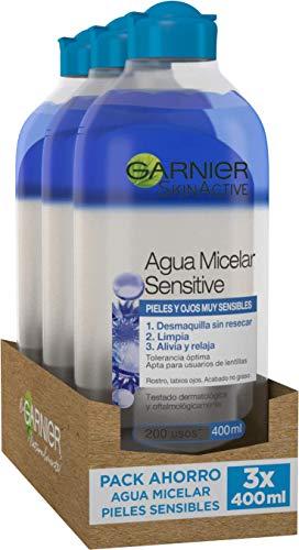 Garnier Skin Active Agua Micelar Sensitive, Desmaquillante para Ojos, Labios y Rostro, Limpiador Facial, Limpia, Alivia y Relaja la Piel, No Reseca, para Pieles Sensibles, Pack x 3, 400 ml
