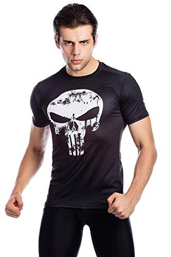 Cody Lundin Uomini Fitness t-Shirt Compressione Eseguire Movimento Stampato Logo Maglia Mens Manica Corta (M)