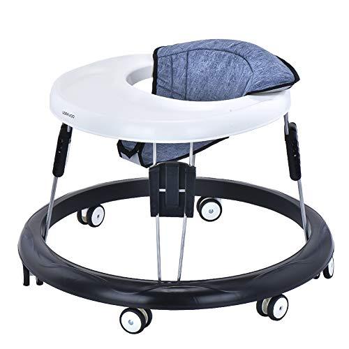 Andador Bebe, Silla de Bebe Plegable y Ajustable para bebés de 6 a 18 meses (Lino Gris)