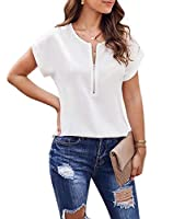 VITryst Women Short-Sleeve Pure Color Round Neck Loose with Zip Top White L