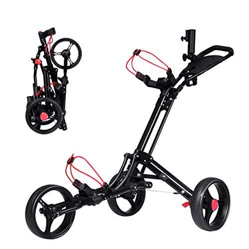DREAMADE Golftrolley Golfwagen klappbar, Golfcart aus Aluminium mit schnellem Klappmechanismus, 3-Rad-Gofwagen mit Bremse Anzeigetafel Regenschirmhalter Basis, Schwarz