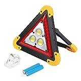 Iswell Triángulo de Advertencia LED Luz de Trabajo Triangular de Emergencia Reflectante en Carretera Recargable con función de Banco de energía Luz de Peligro Reflector súper Brillante