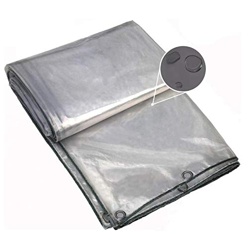 Lona MYAN Impermeable, Toldo Transparente 0,3mm Grueso PVC El Plastico Transparente Cubrir con Ojales Y Bordes Reforzados, Multiusos, 420g/m² (Color : Clear, Size : 1.8M X 2.2M)
