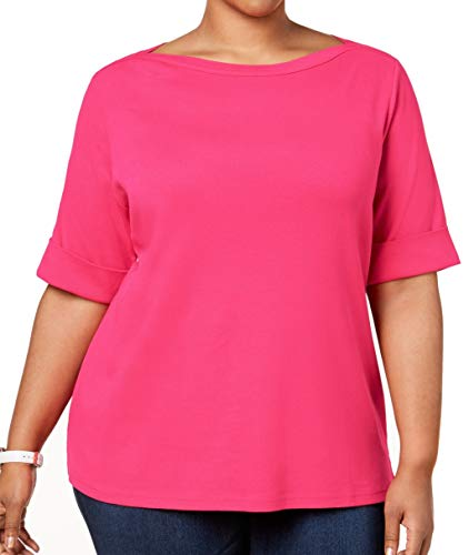 Karen Scott Womens Plus Cotton Boatneck T-Shirt Pink 0X
