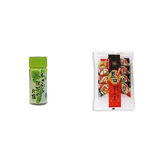 [2点セット] わさびと抹茶のお塩(30g)・飛騨銘菓「打保屋」の駄菓子 豆板(8枚入)
