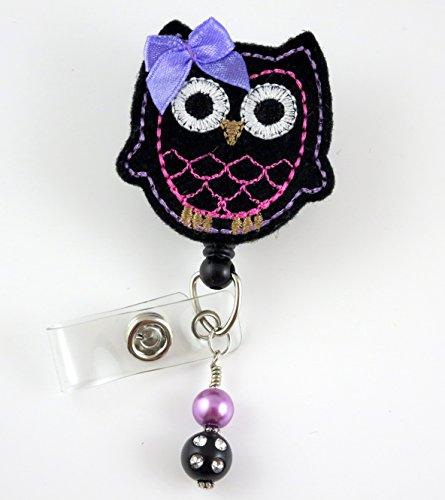 Cute Owl Black & Pink - Nurse Badge Reel - Retractable ID Badge Holder - Nurse Badge - Badge Clip - Badge Reels - Pediatric - RN - Name Badge Holder