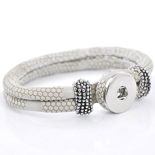Sadingo Druckknopf Damen Armband - für Click Button - Armschmuck selber Machen, gestalten - Grau/Weiß, 1 Stück