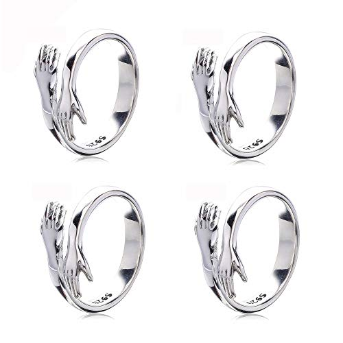 Hug Ring Hands, Sterling Silver Adjustable Rings for Women, Silver Color Rings for Women Wedding Party Jewelry Gift (4pcs)