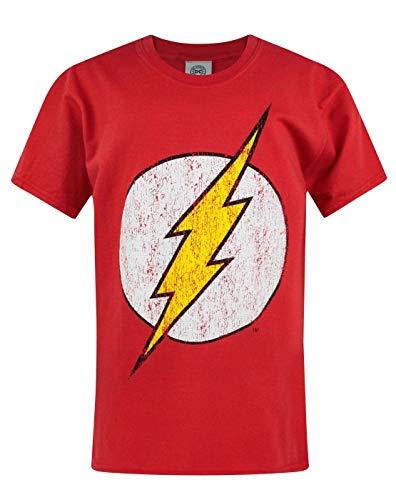 Flash T-Shirt für Jungen Distressed Logo Kurzarm Superhelden Red Top für Kinder 9-11 Jahre