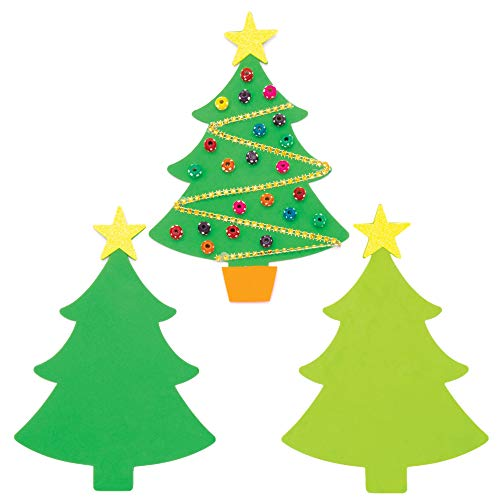 Baker Ross AW988 Christmas Tree Foam Blanks Class Pack, Festive Arts and Crafts (Pack of 30), Assorted
