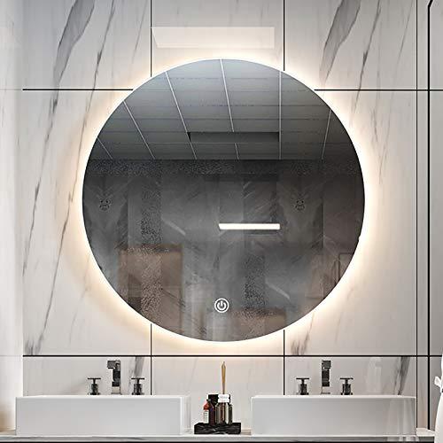 Espejo de Baño Redondo con Iluminación LED, Espejo de Pared para Baño Antivaho con Luces LED, Interruptor de Sensor Táctil y 3 Colores de Luz, Espejo de Tocador de Maquillaje Táctil Retroiluminado