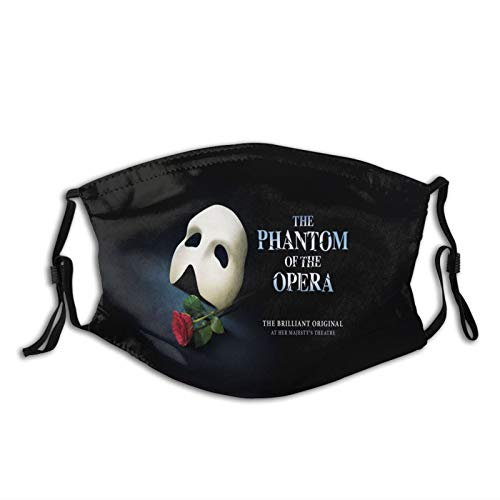 Phantom of The Opera Poster Art Outdoor Mask,Protective 5-Layer Activated Carbon Filters Adult Men Women Bandana