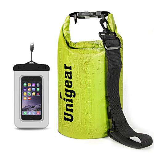 Unigear Dry Bag Waterproof, Floating and Lightweight Bags for Kayaking, Boating, Fishing, Swimming and Camping with Waterproof Phone Case (Yellow, 5L)