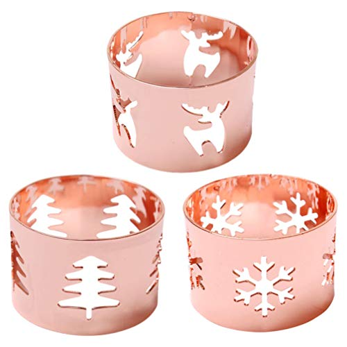 Amosfun 3pcs Christmas Napkin Rings Reindeer Snowflake Christmas Tree Napkin Rings Serviette Rings Napkin Holders Xmas Holiday Christmas Dinner Table Decorations Rose Gold